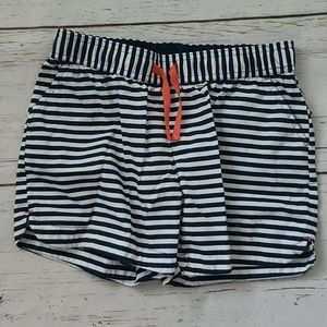 Lands End Navy White Striped Shorts 10-12